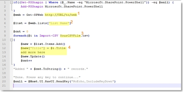 Import Data into SharePoint via PowerShell