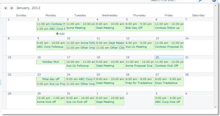 Boring SharePoint Calendar View