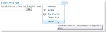 Export a SharePoint web part