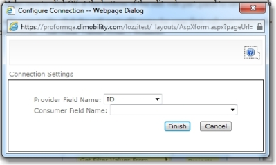 Web part connections dialog