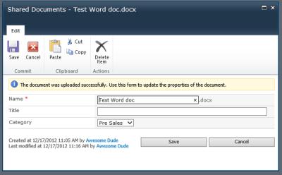 Upload Document with Metadata - SharePoint