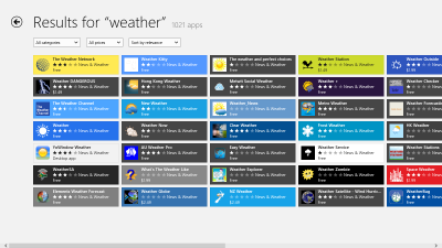 Search weather on Windows 8