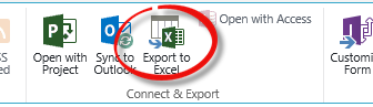 Export to Excel button