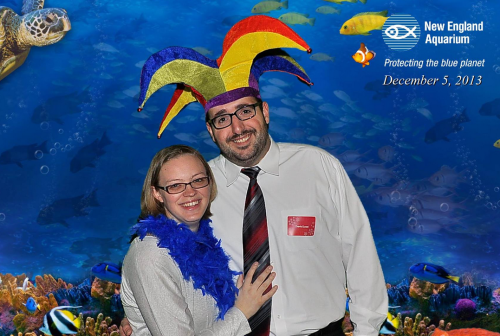 The wife and I at the Slalom Holiday Party. I was slouching a little...