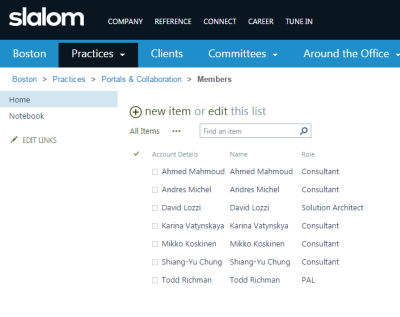 sharepoint list with names