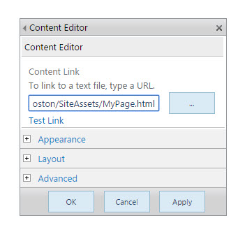 past html link in content editor
