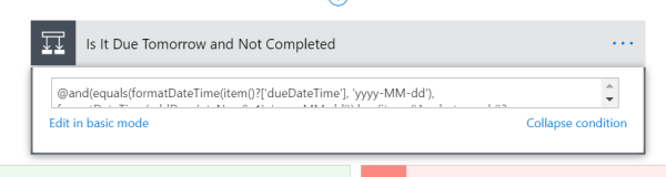 Advanced condition to check if task is due