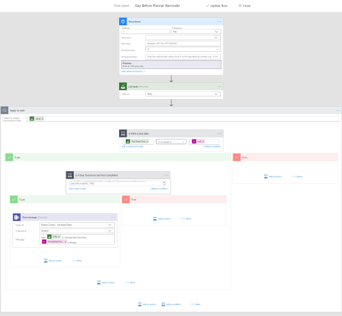 Microsoft Flow copying Planner due dates to Teams