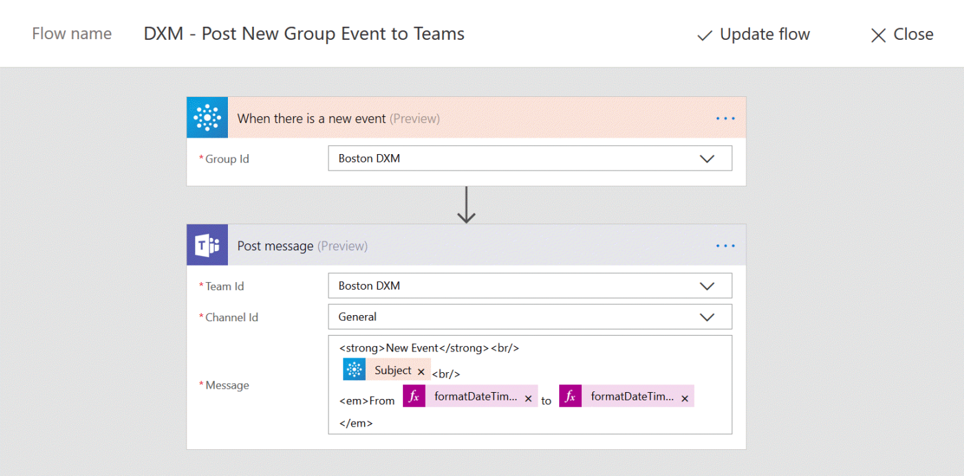 update your team with events from your outlook group calendar using microsoft flow