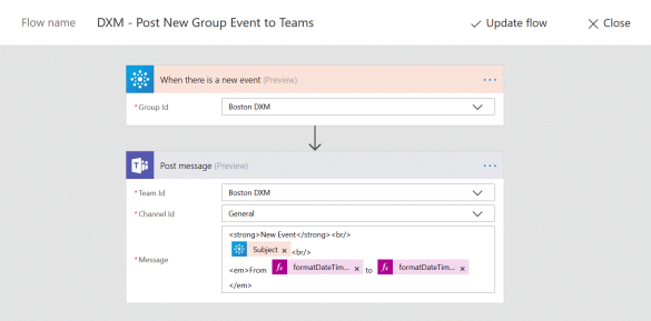 Create new post in Teams from your Calendar
