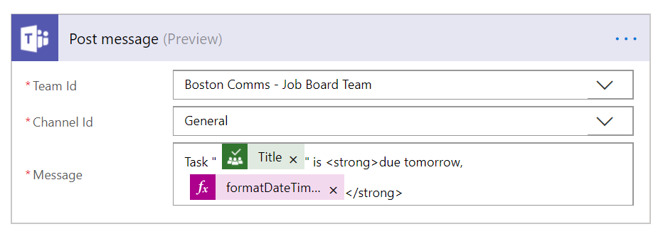 Use Microsoft Flow to remind the Team of due dates from