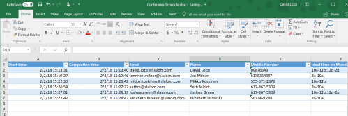 More Forms data in Excel