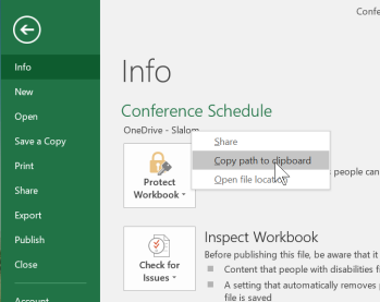 Get the Excel File Path to open in SharePoint