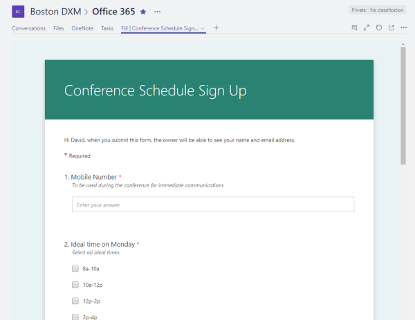 Microsoft Forms in Teams