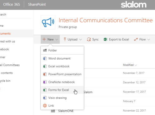 Forms into Excel option in SharePoint Library