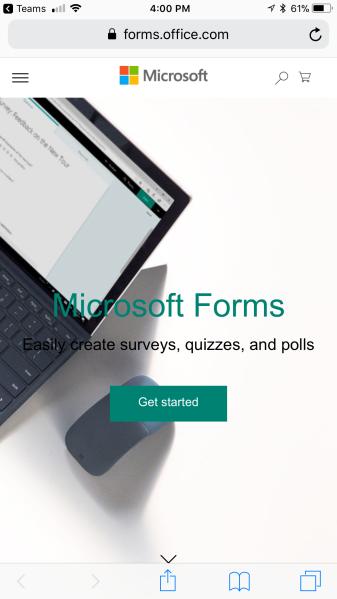 Forms tab in Teams