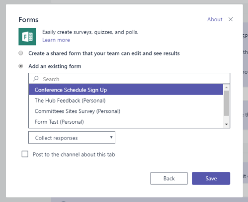 Adding Microsoft Forms to Teams