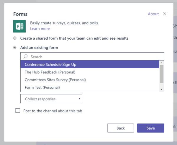 Adding Microsoft Forms to Teams