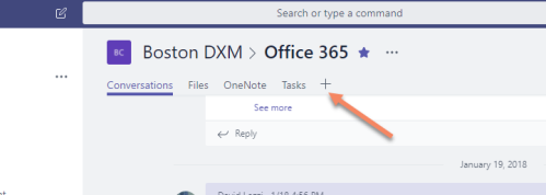Microsoft Teams add a new tab