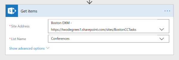 Microsoft Flow Action SharePoint - Get List Items