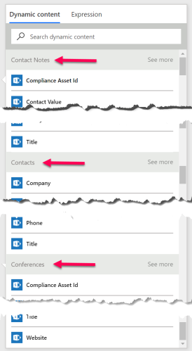 Microsoft Flow dynamic content selector with proper names