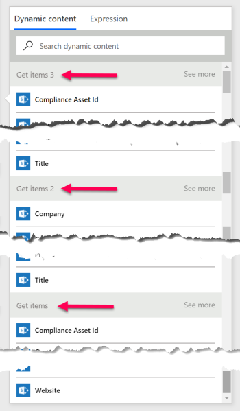 Microsoft Flow dynamic content selectors for three SharePoint Get Items actions