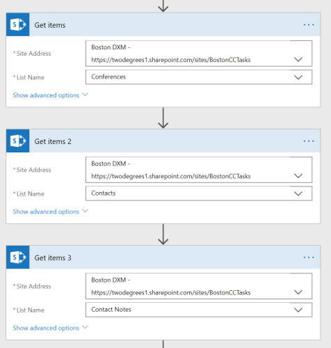 Three SharePoint Get Items actions in microsoft flow