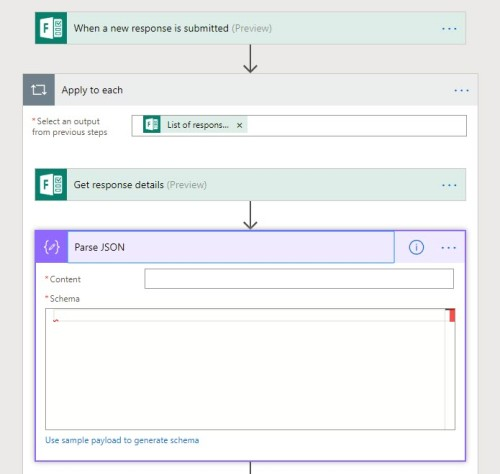 Parse JSON action in Microsoft Flow