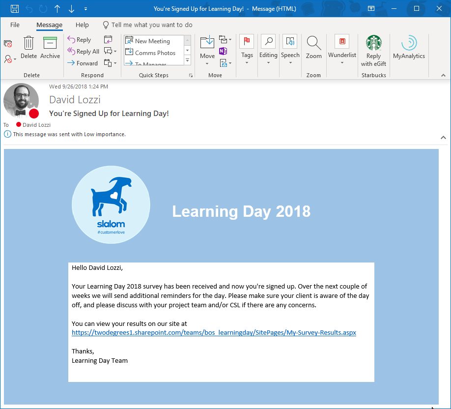 Sending a beautifully formatted email from Microsoft Flow – David