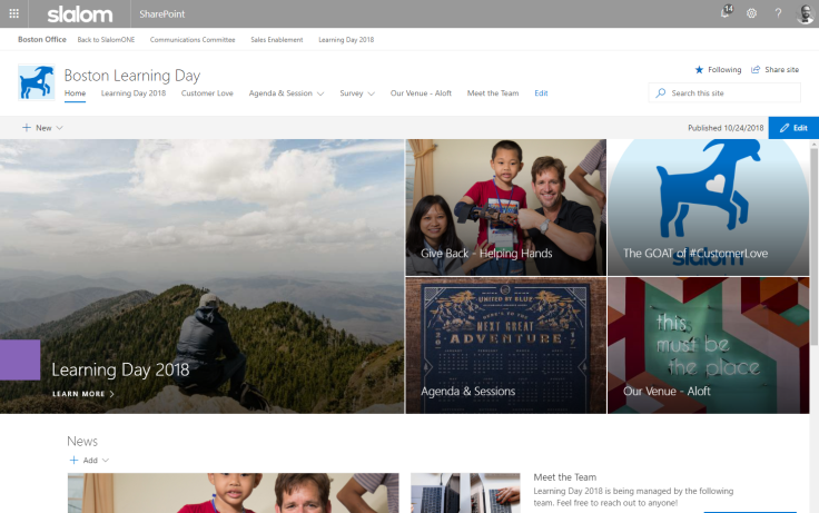 sharepoint communications site
