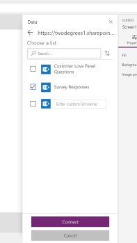 connecting sharepoint to powerapps