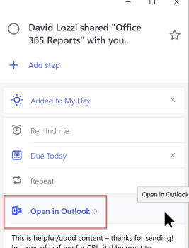 open todo flagged email outlook