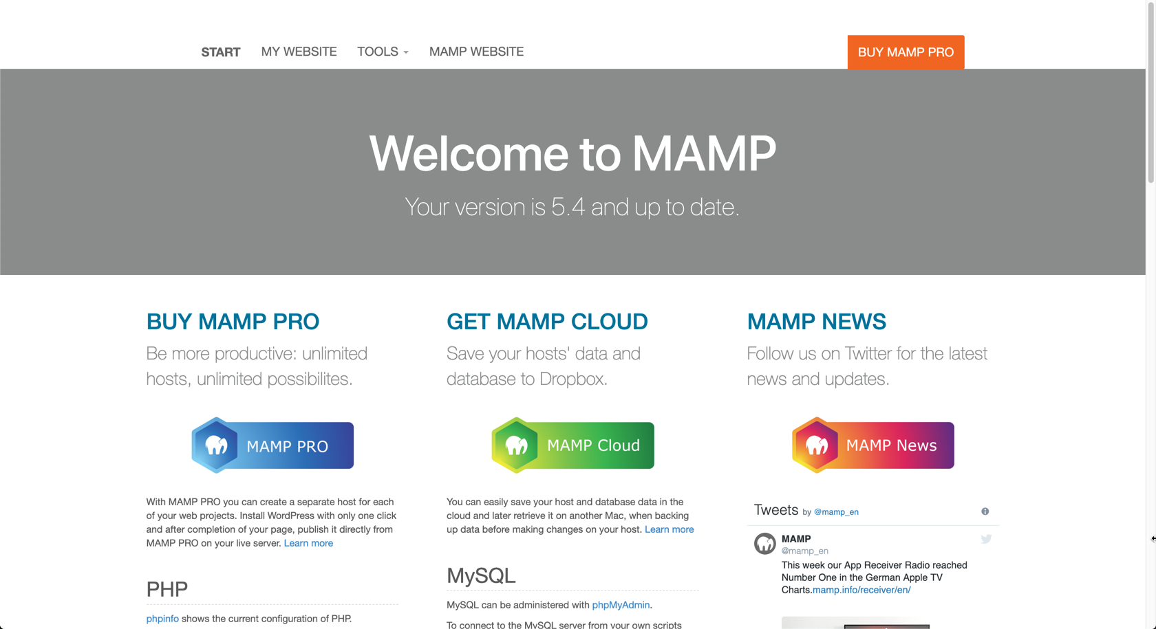 MAMP welcome screen