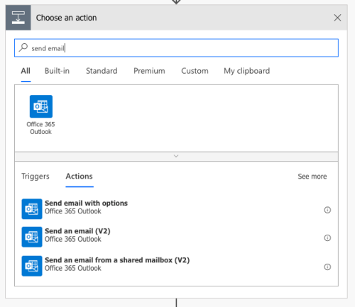 Three email options in Flow for Outlook